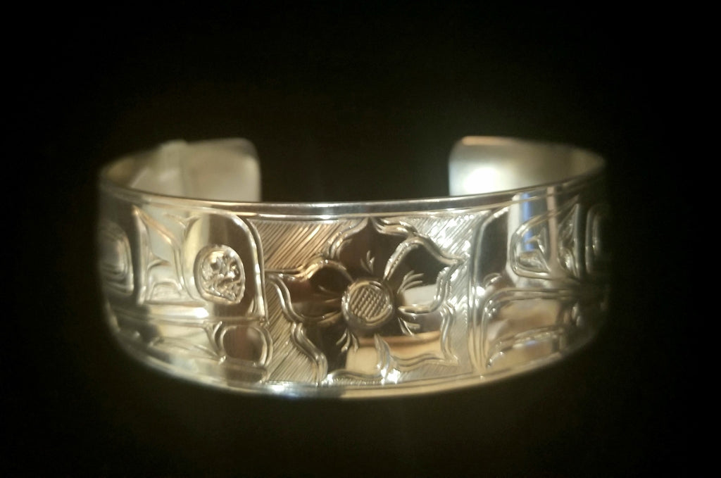 "Bracelet- S Sheakley: 3/4"" Silver, Lovebirds w Salmonberry"