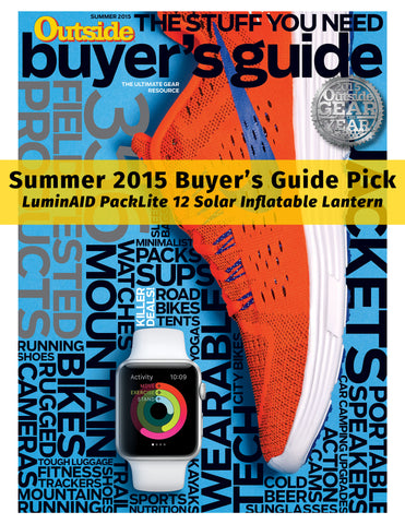 LuminAID PackLite 12 featured in OUTSIDE Magazine as a 2015 Summer Buyers Guide Pick
