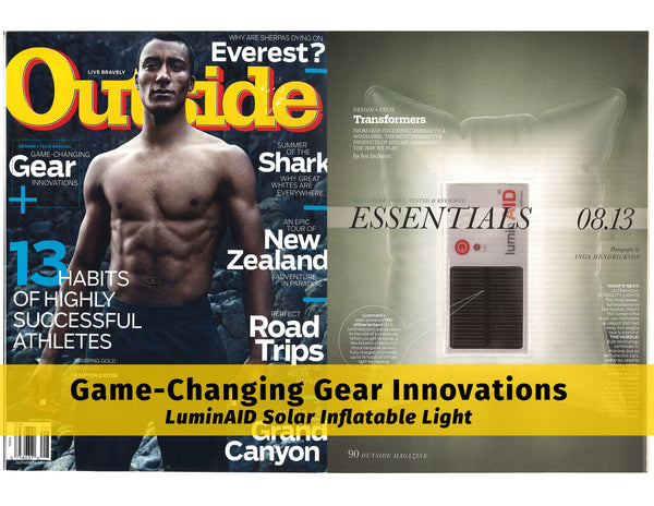 LuminAID Solar Inflatable Light Featured in OUTSIDE Magazine as a Game-Changing Gear Innovation
