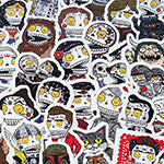 An image of an assortment of Day of the Dead Stickers.