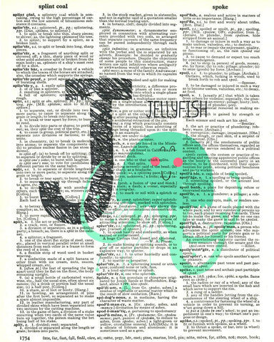 Dictionary Art Print Printed On Authentic Vintage Dictionary Book Page - 8 x 10.5 - Alphabet Letter J