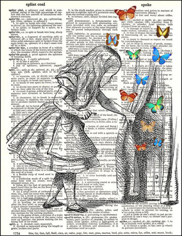 Alice and Door with Butterflies - Dictionary Art Print