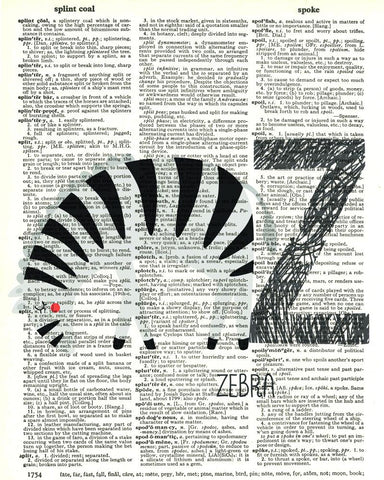 Dictionary Art Print Printed On Authentic Vintage Dictionary Book Page - 8 x 10.5 - Alphabet Letter Z