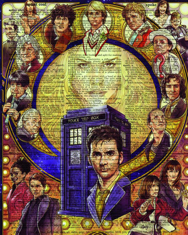 Tardis and Doctors - Dictionary Art Print