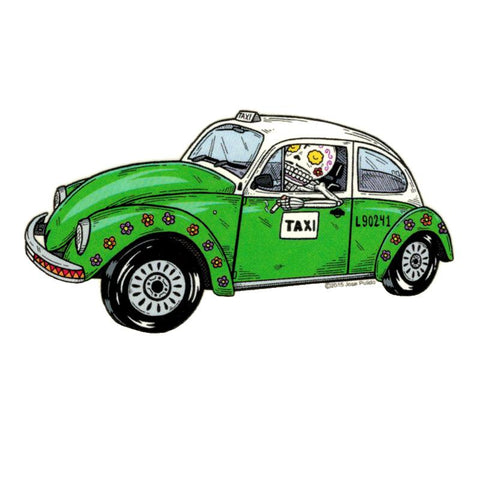 VW Beetle Taxi - Day of the Dead Sticker