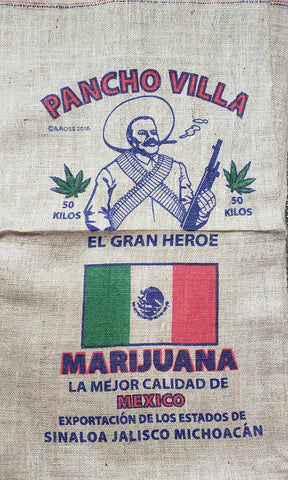 "Pancho Villa Marijuana Novelty Burlap Bag 22"" X 36"""