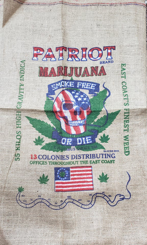 "Patriot Marijuana Novelty Burlap Bag 22"" X 36"""