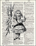 An image of a(n) Alice Holding Pig Dictionary Art Print.
