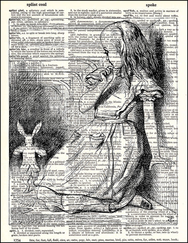An image of a(n) Alice in Hallway Dictionary Art Print.