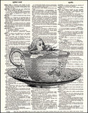 An image of a(n) Alice in Tea Cup Dictionary Art Print.