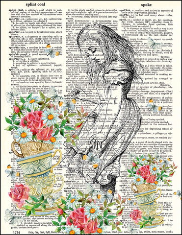 An image of a(n) Alice with Tea Cup Flowers Dictionary Art Print.