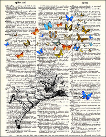 An image of a(n) Alice Flying with Butterflies Dictionary Art Print.