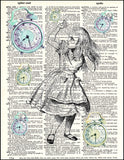 An image of a(n) Alice with Clocks Dictionary Art Print.