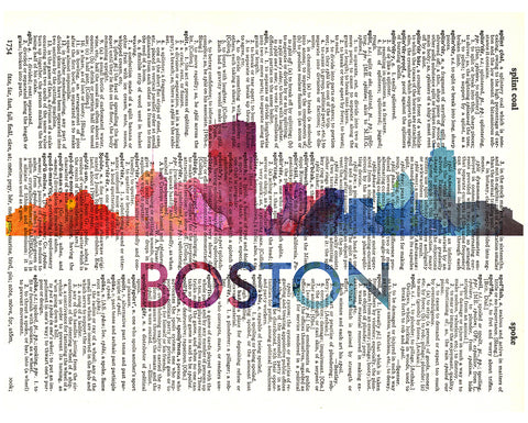An image of a(n) Boston Love Your City Watercolor Skyline Dictionary Art Print .