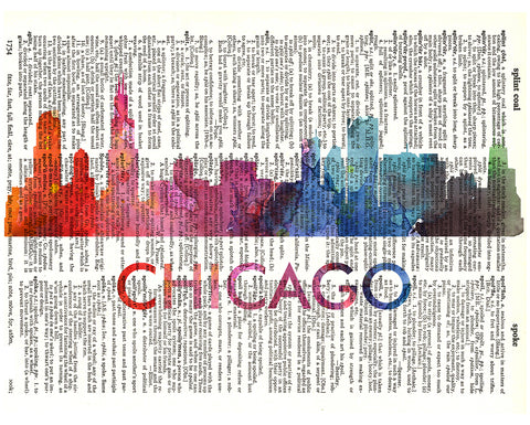 An image of a(n) Chicago Love Your City Watercolor Skyline Dictionary Art Print .