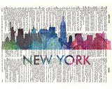 An image of a(n) New York Love Your City Watercolor Skyline Dictionary Art Print .