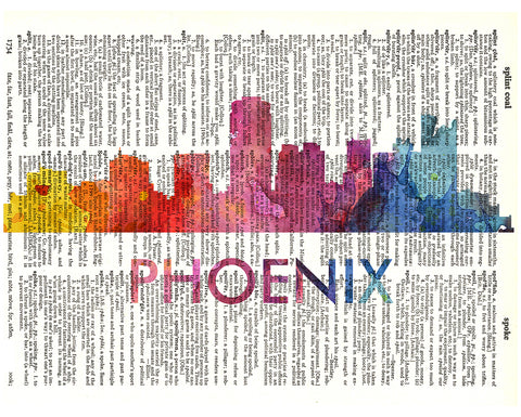An image of a(n) Phoenix Love Your City Watercolor Skyline Dictionary Art Print .