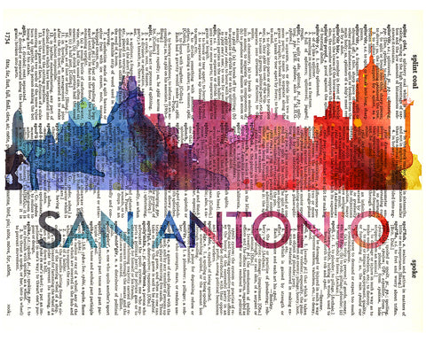 An image of a(n) San Antonio Love Your City Watercolor Skyline Dictionary Art Print .