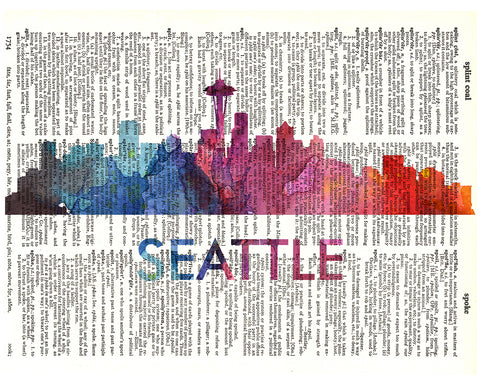 An image of a(n) Seattle Love Your City Watercolor Skyline Dictionary Art Print .