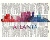 An image of a(n) Atlanta Love Your City Watercolor Skyline Dictionary Art Print .