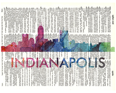 An image of a(n) Indianapolis Love Your City Watercolor Skyline Dictionary Art Print .
