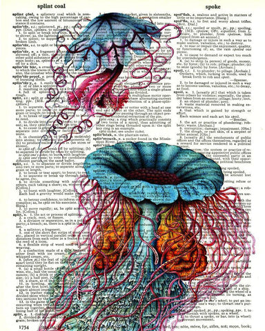 Jellyfish Triptych 03 - Dictionary Art Print