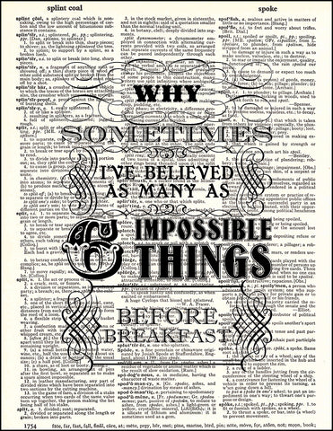 An image of a(n) Impossible Things Quote Dictionary Art Print.