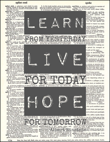 An image of a(n) Einstein Learn Live Hope Quote Dictionary Art Print.