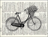 An image of a(n) Bicycle with Basket Dictionary Art Print.