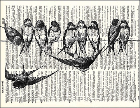 An image of a(n) Birds on a Wire Dictionary Art Print.
