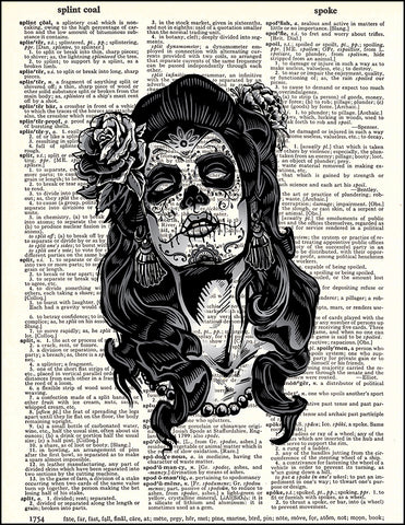 An image of a(n) Day of the Dead Girl Spooky Eyes Dictionary Art Print.