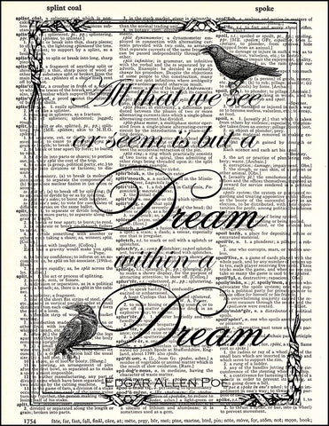 An image of a(n) Dream within a Dream Poe Quote Dictionary Art Print.