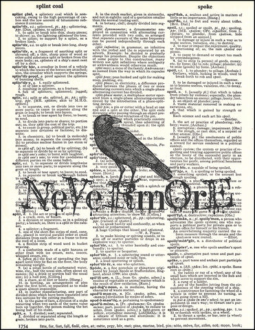 An image of a(n) Nevermore Poe Raven Dictionary Art Print.