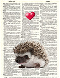 An image of a(n) Hedgehog Love Dictionary Art Print.