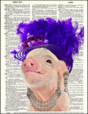 An image of a(n) Piglet with Derby Hat Dictionary Art Print.