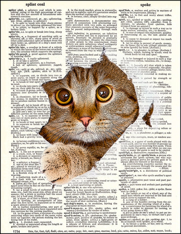 An image of a(n) Cat Tearing Through Page Dictionary Art Print.