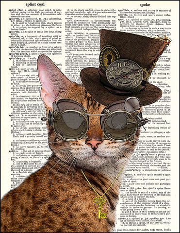 An image of a(n) Steampunk Kitty Dictionary Art Print.