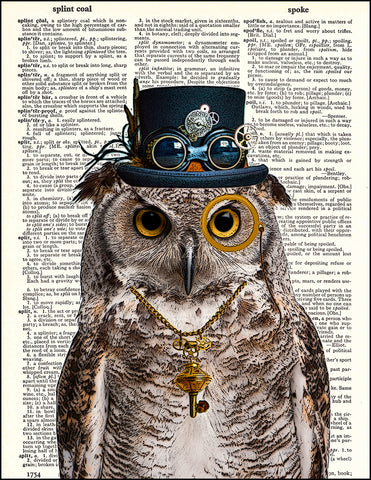 An image of a(n) Steampunk Owl Dictionary Art Print.