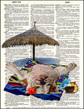 An image of a(n) Sunbathing Bulldog Dictionary Art Print.