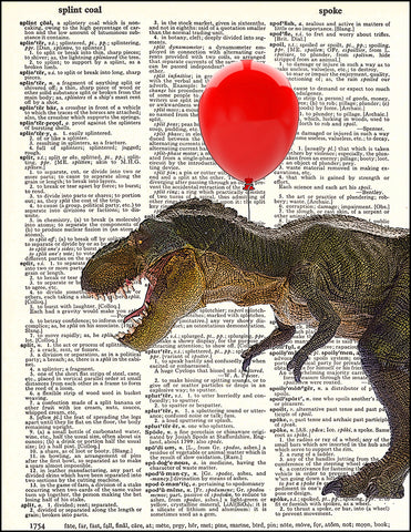 An image of a(n) Tyrannosaurus Rex Balloon Dictionary Art Print.