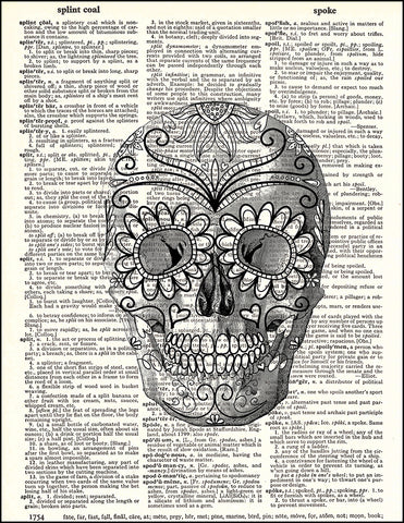 An image of a(n) Day Of The Dead Human Skull Dictionary Art Print.
