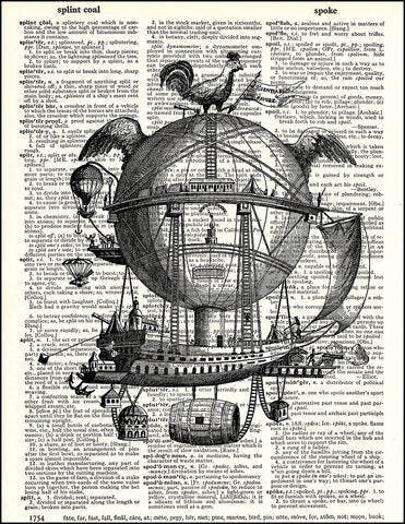 An image of a(n) Steampunk Ship Dictionary Art Print.