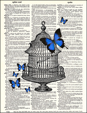 An image of a(n) Butterflies and Cage Dictionary Art Print.