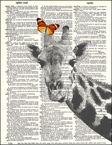 An image of a(n) Butterfly on Giraffe Dictionary Art Print.