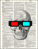 An image of a(n) Skull with 3D Glasses Dictionary Art Print.
