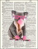 An image of a(n) 80's Koala Dictionary Art Print.