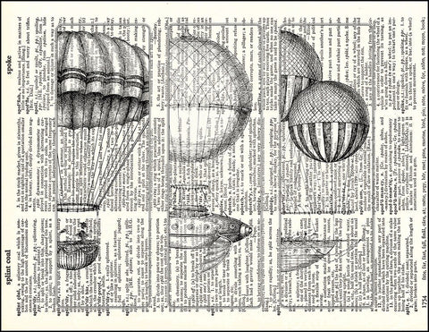 An image of a(n) Hot Air Balloons Dictionary Art Print.