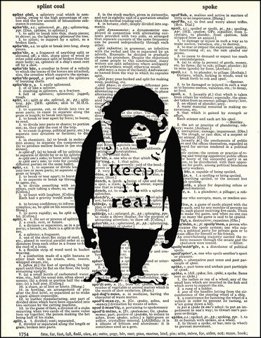 An image of a(n) Banksy Chimp Dictionary Art Print.