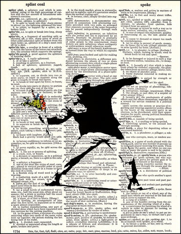 An image of a(n) Banksy Flower Dictionary Art Print.