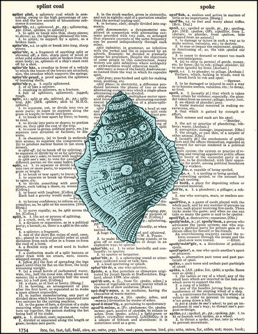 An image of a(n) Blue Seashell Dictionary Art Print.